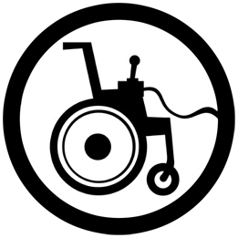 Icon of a wheelchair with a joystick attached.