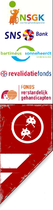 Logo of the Dutch Foundation for the Disabled Child, Logo of SNS Bank and illustration